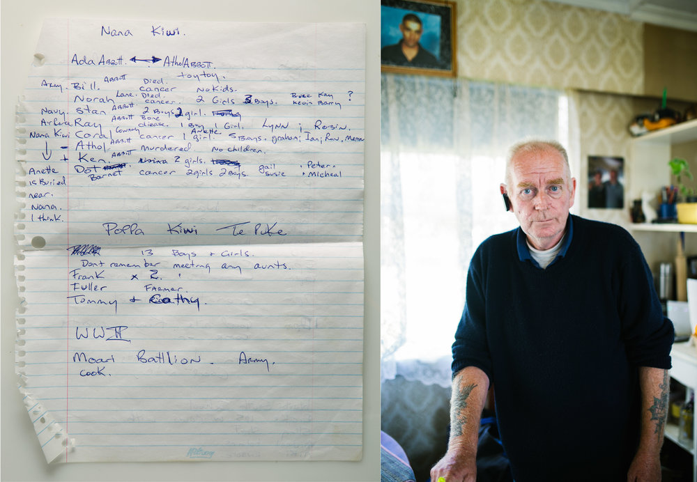 June 13 2017 / May 7 2017.   Before I left for New Zealand, my father's anxiety increased significantly and he provided me with a pile of hand-written notes outlining aspects of his life in New Zealand, the family, the land, etc. On this specific page, my father breaks down the family tree alongside causes of death. Paired with these notes is a portrait of my Uncle Graham - my father's brother who has significant distance from the family. When meeting and interacting with some of my father's brothers (my uncles), I noticed various similarities both in physical appearance and character between them and my father. I took this portrait in the short 20 minute visit we shared.