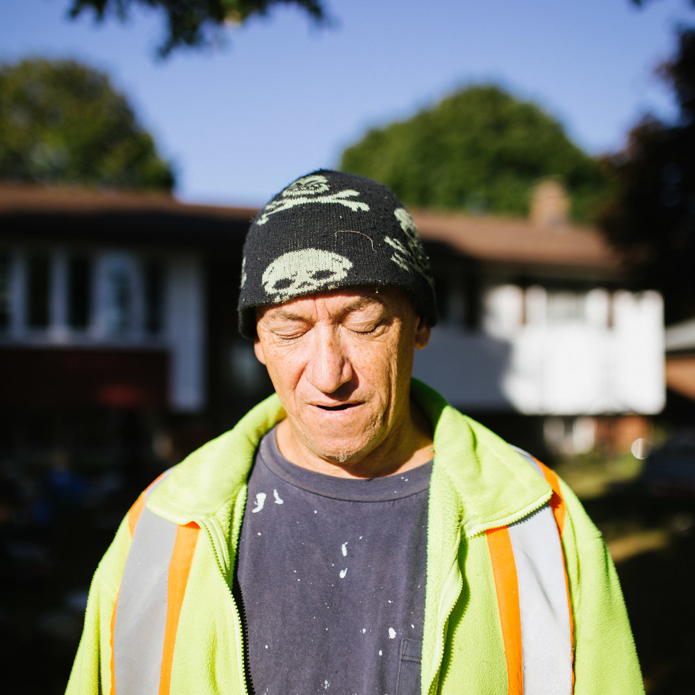 October 3 2017.   My father stood infront of he and his girlfriend's home that was once her father's, in Peterborough, Canada. I asked him to stand in his driveway, where blinding light closed his eyes with an exhale.