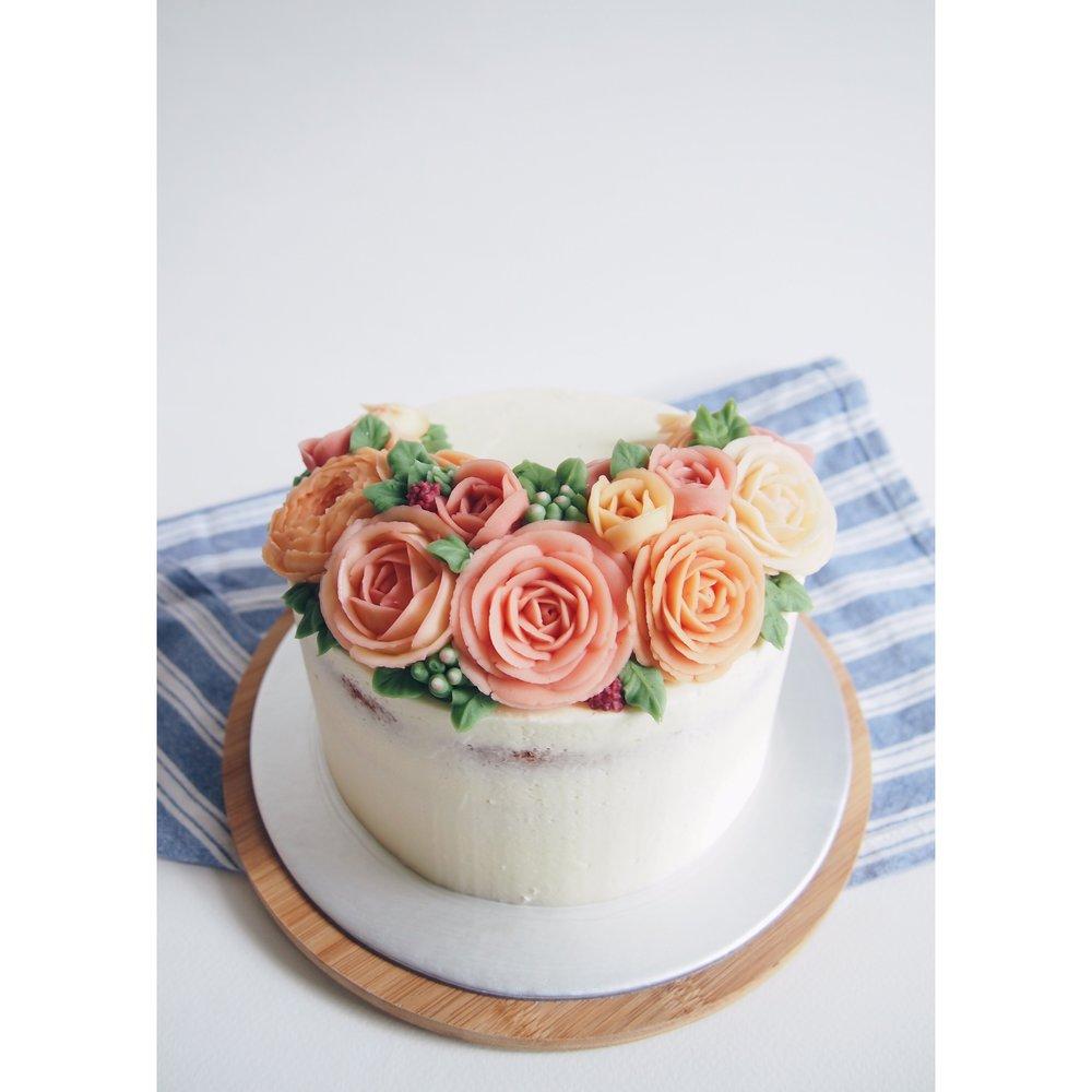 3D Buttercream Floral Cake