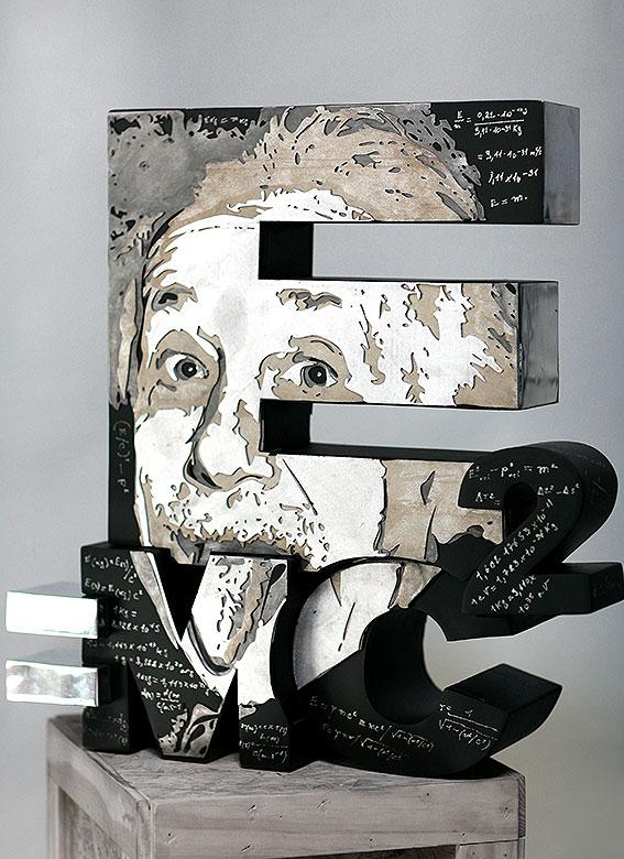 E=Mc2  (2012) | aluminium | 55 x 40 x 30 cm | oeuvre originale