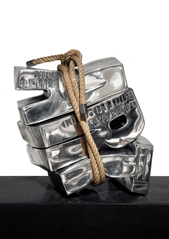 Art Sanglé  (2018) | aluminium, chanvre | 40 x 40 x 30 cm | oeuvre originale