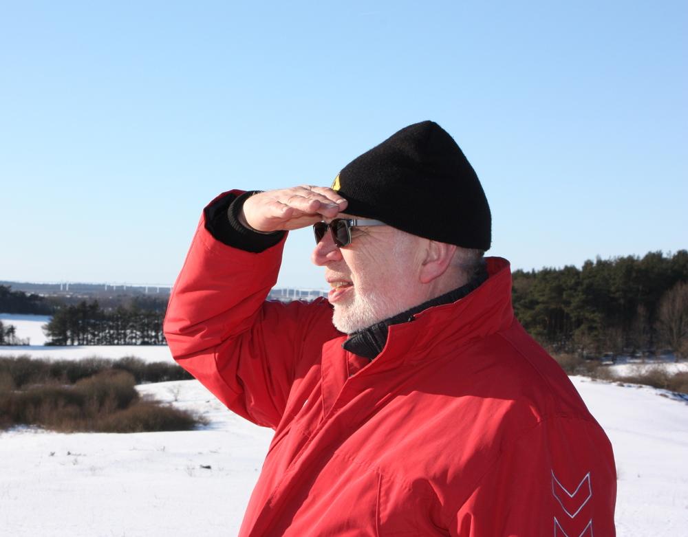 Jørn Rønnau på udkik efter et godt site ved Skjern Åvinteren 2008