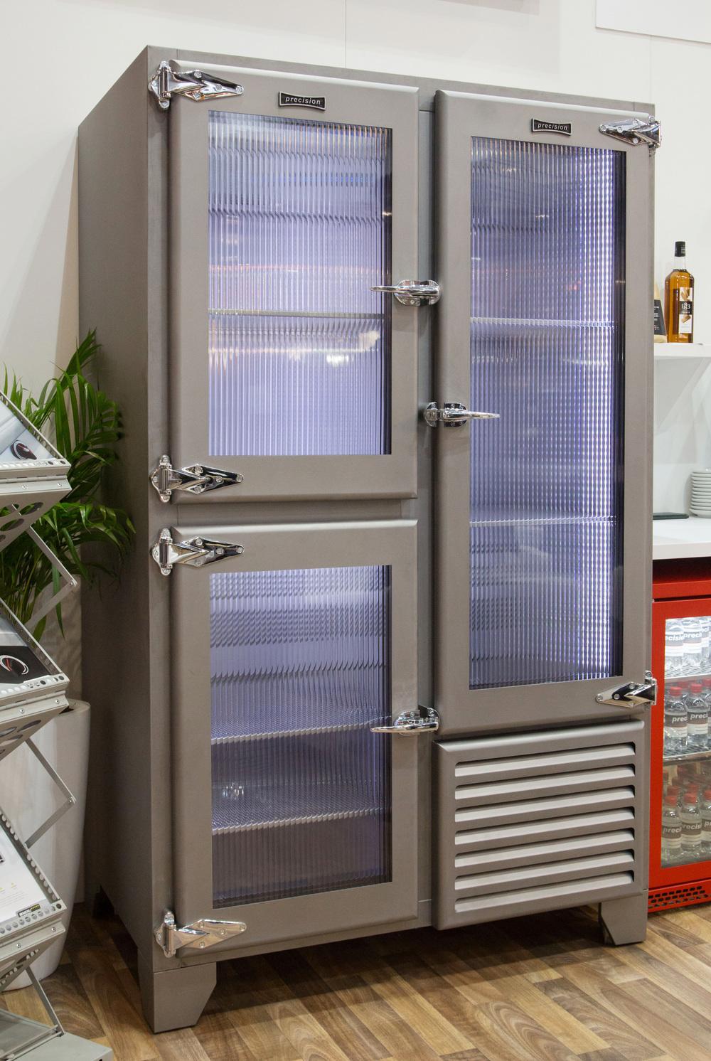 Retro Fridge With Ribbed Glass Doors