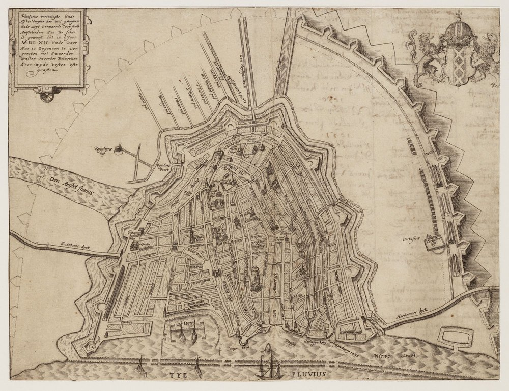 Outline of the needed fortifications around the city. Unknown artist ca. 1610.                              (Stadsarchief Amsterdam)