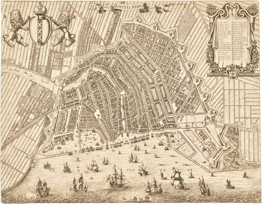Amsterdam with the extension on the west side of the city. Map by Dirck Cornelisz. Swart (1623).    (Stadsarchief Amsterdam)