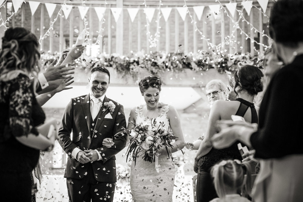 Kingscote Barn Wedding confetti