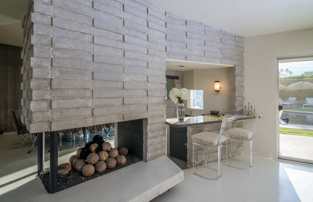 Fireplace, sunken bar