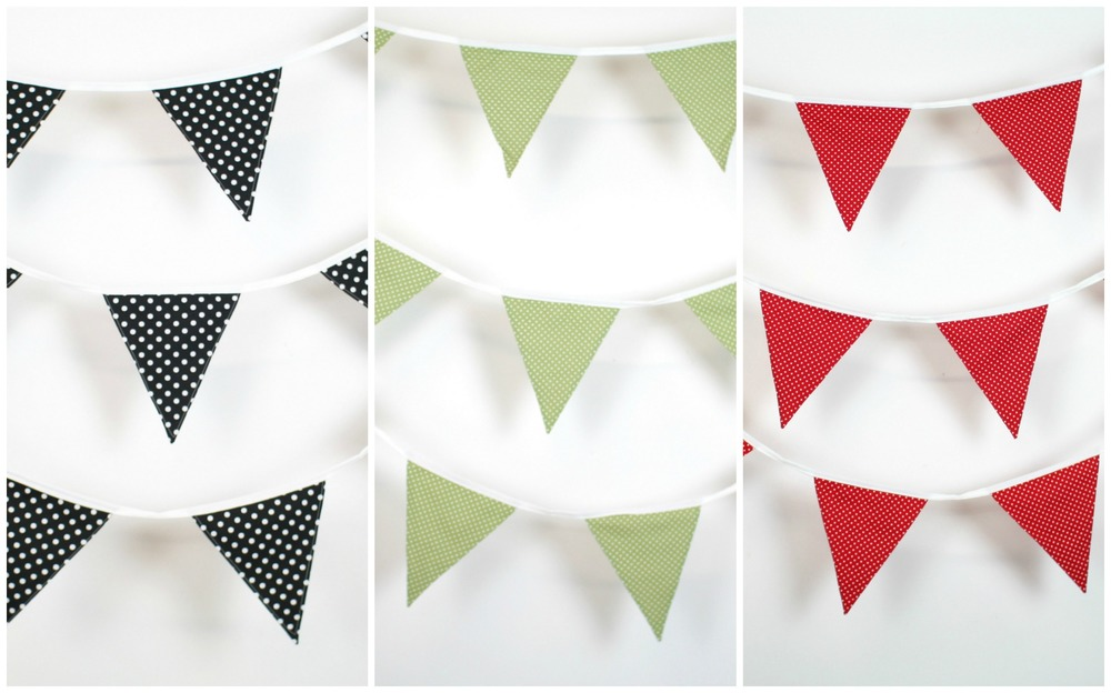 Hand sewn triangular cotton poplin bunting: Black and White 1 - 9.2m, Black and White 2 - 9.3m, Sage Green and White - 9.6m, Red and White - 8.5m  Flags measure 18.5 cm wide x 21 cm high  Flags are double sided for ease of hanging.   HIRE:   £2 per metre    BUY:   £7.50 per metre