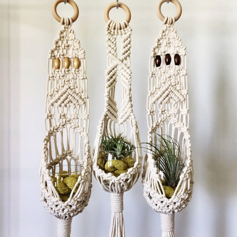 macrame planter pouch house sparrow nesting