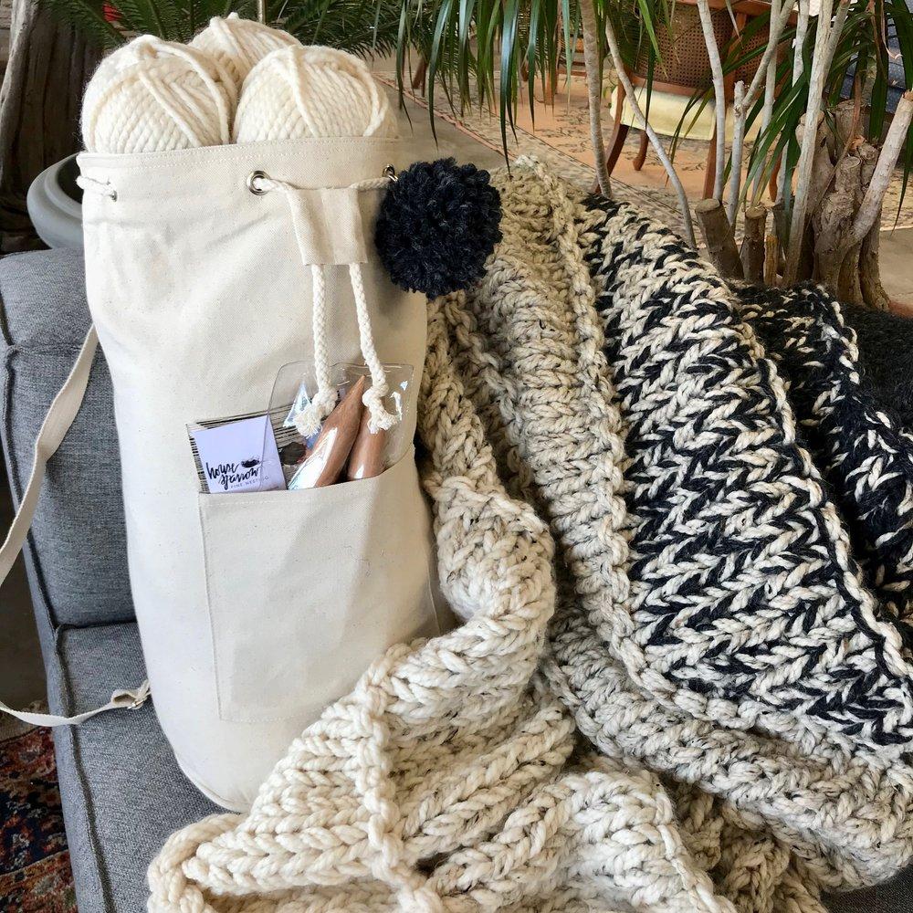 chunky knit blanket knitting kit