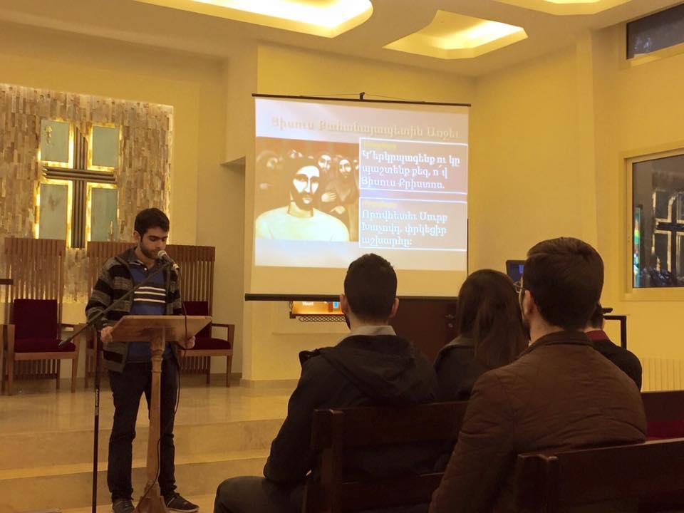 Njteh Mekhsian (Armenian Evangelical First Church) leading the worship