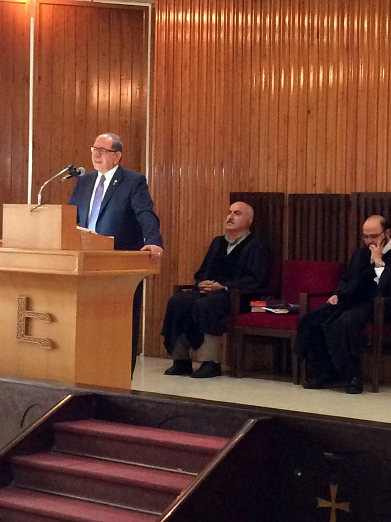 Mr. Zaven Khanjian preaching, deacon Samuel Svajian, Badveli Sevag Trashian