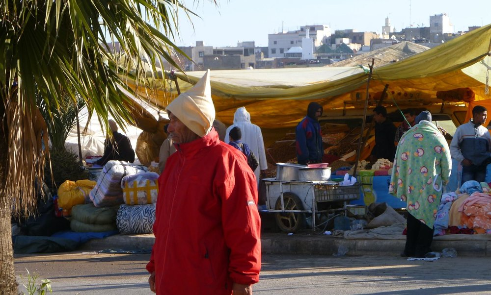 Vendors set up temporarily during the Miloud festival