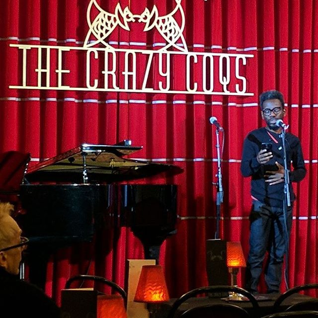 Our @tunjifalana rehearsing for the Books Music &Lyrics showcase at The Crazy Coqs @brasseriezedel