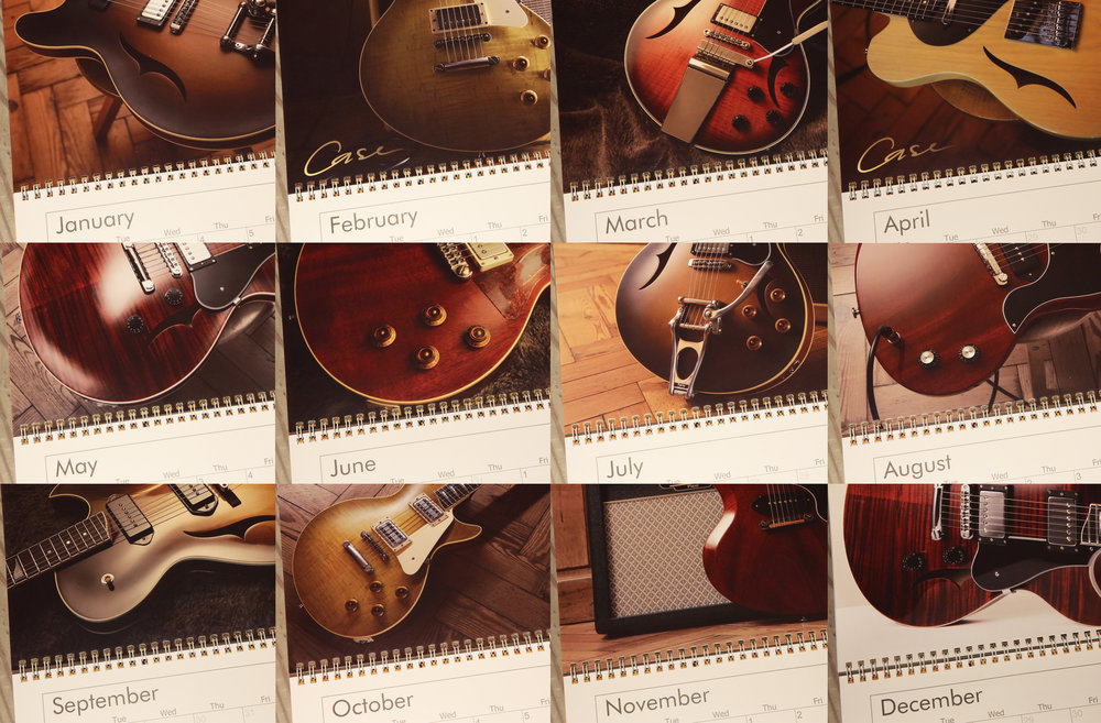 Case Guitars 2018 Wall Calendar with 12 rich guitar images and spacious grid (Opens to 28x44cm)  To purchase, please contact us. info@caseguitars.com £15 including postage (PayPal or bank transfer)