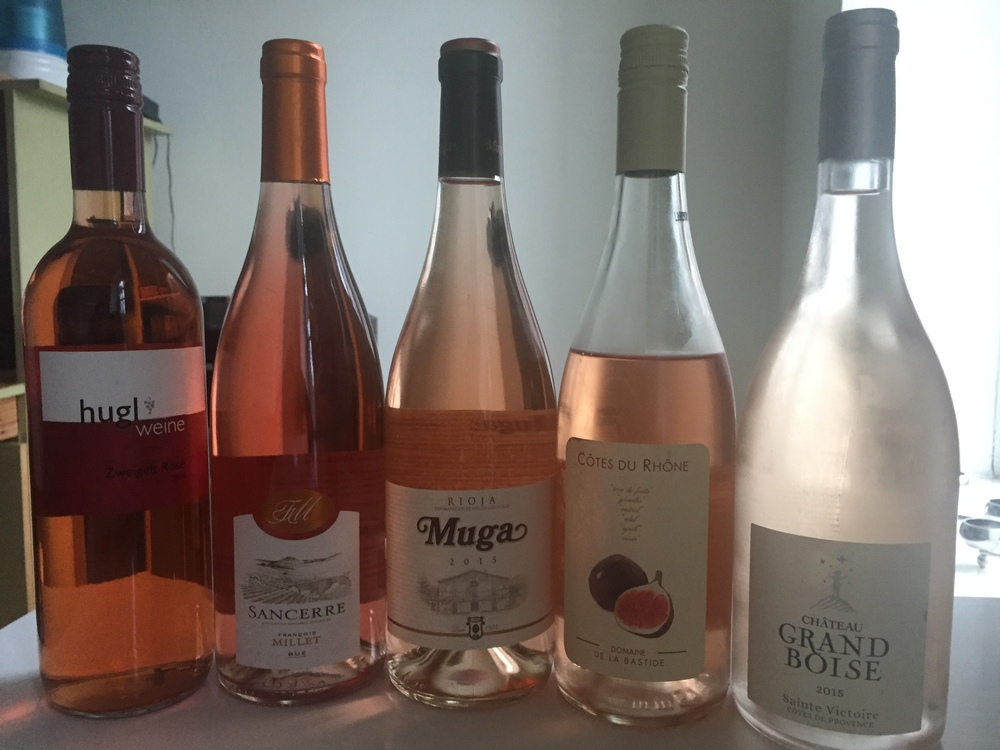 The many shades of pink wine (ignore the fact that one of them has clearly already been opened) | New York | June 2016