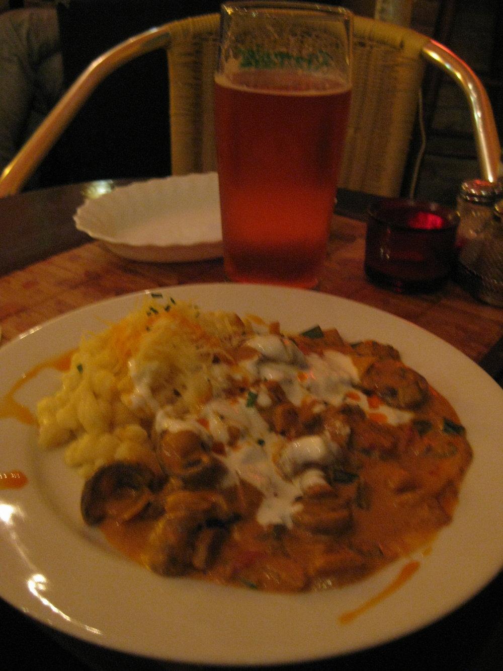 Goulash and Hungarian cherry beer. YUM!