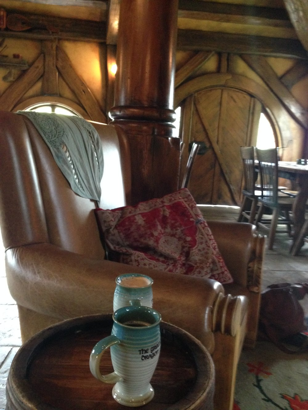 Enjoying some cider at Hobbiton.
