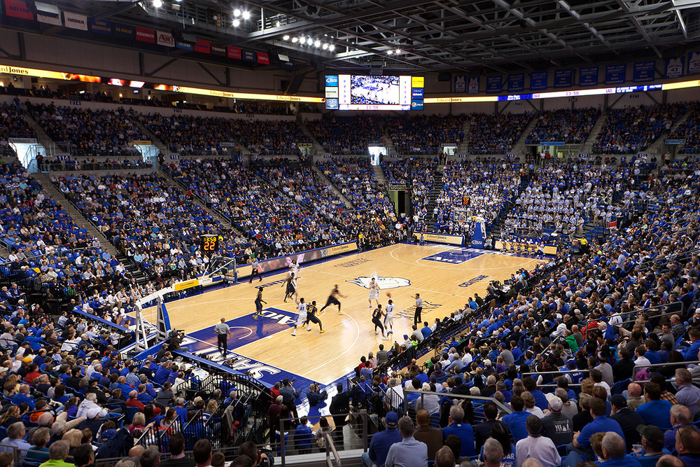 The SLU basketball team plays LaSalle during the last game of the regular season to a sold out crowd at home.