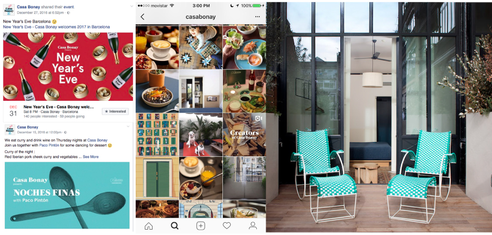 Social Media posts from  Casa Bonay,  Boutique Hotel in Barcelona, Spain.