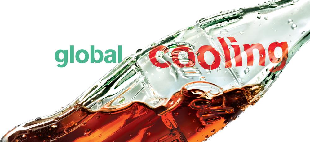"BarberWarren Coca-Cola Green Glass Bottle Refreshment ""Global Cooling"""