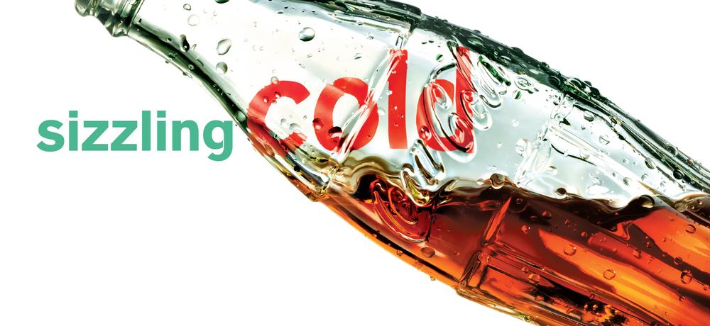 "BarberWarren Coca-Cola Green Glass Bottle Refreshment ""Sizzling Cold"""