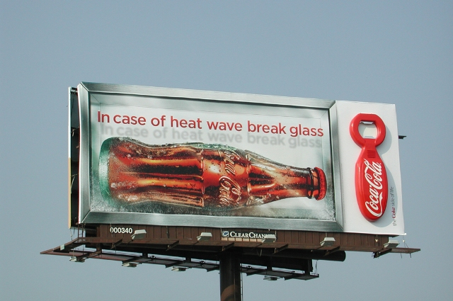 "BarberWarren Coca-Cola ""In case of heat wave break glass"" billboard"