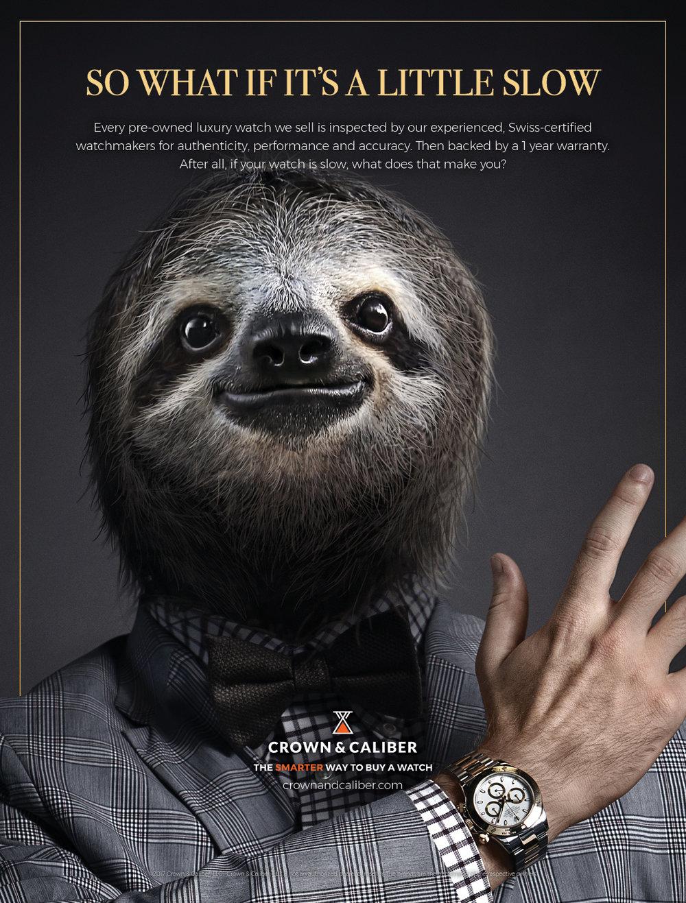 """BarberWarren Crown & Caliber """"Sloth"""" print ad"""
