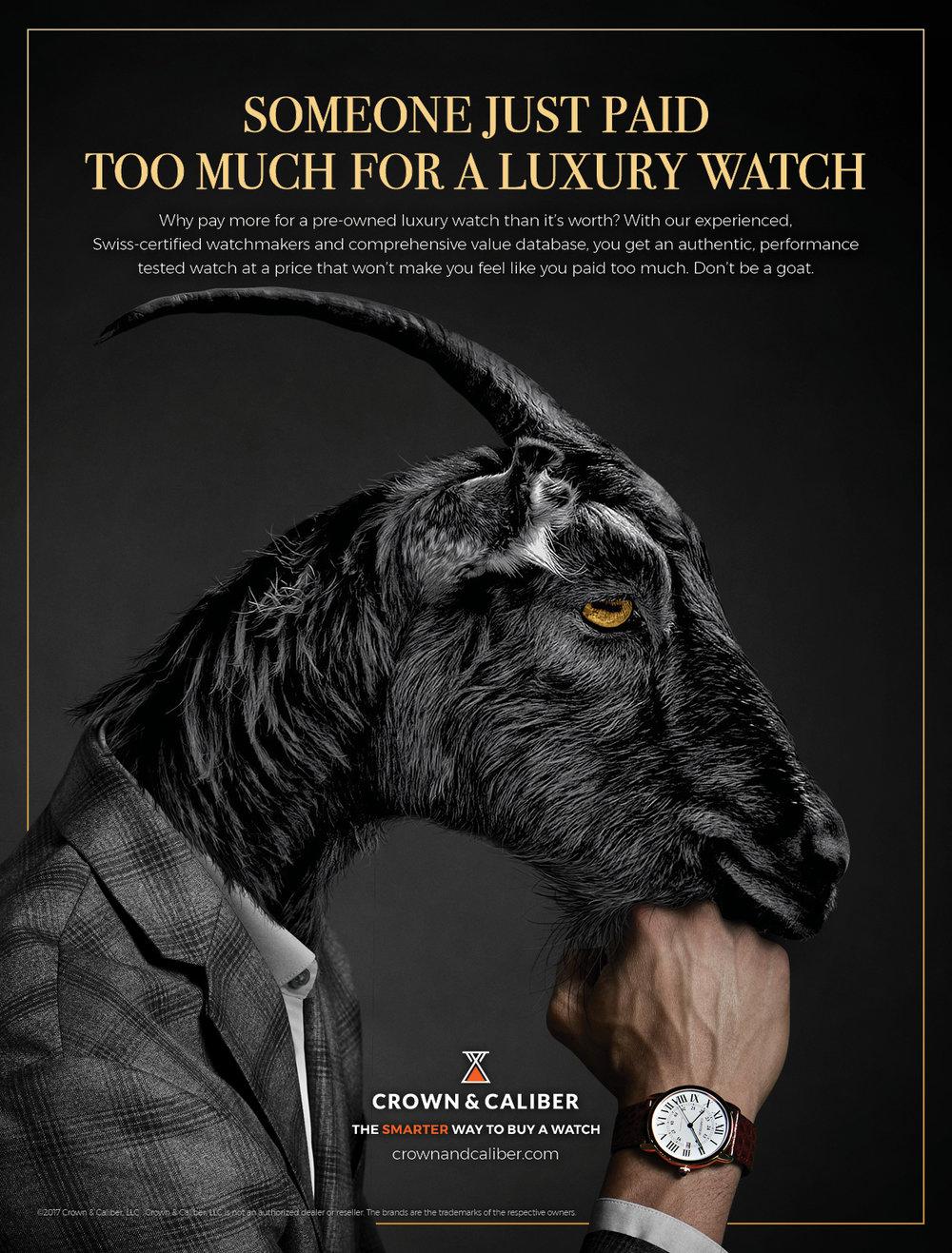 """BarberWarren Crown & Caliber """"Goat"""" print ad"""