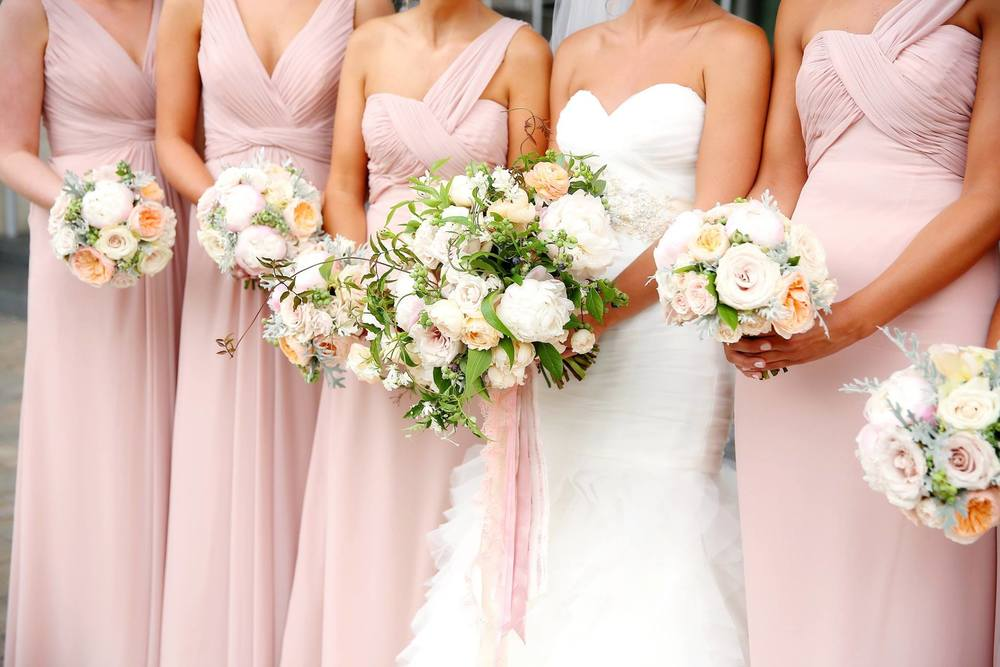 West Michigan Blush and White Wedding Bouquets