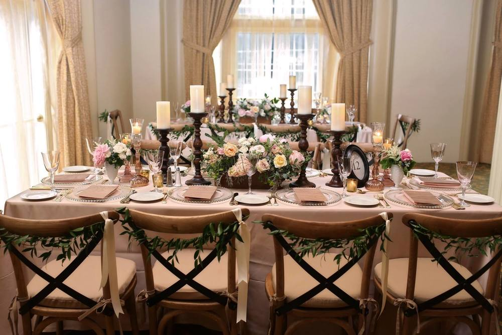Amway Grand Plaza Bright Wedding Decor Wood Farm Tables and Chairs