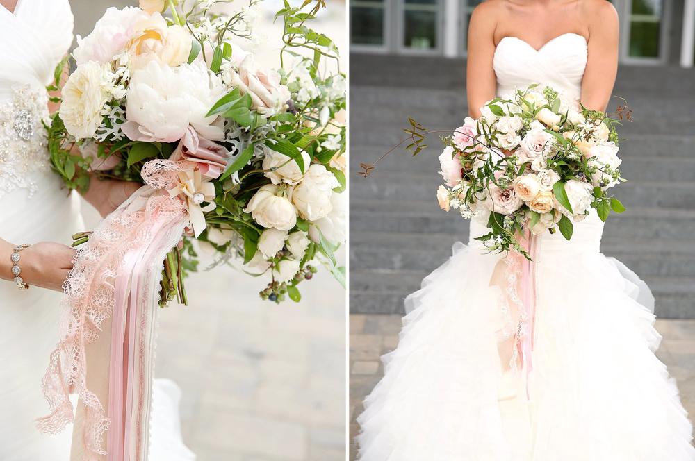 Grand Rapids, Michigan Wedding White and Pink Flower Bouquet