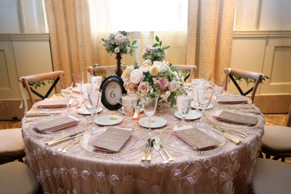 Grand Rapids, Michigan Blush Floral Tablescape for Wedding