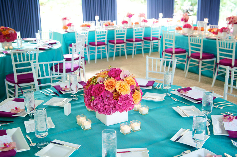 blue and purple reception at tented wedding