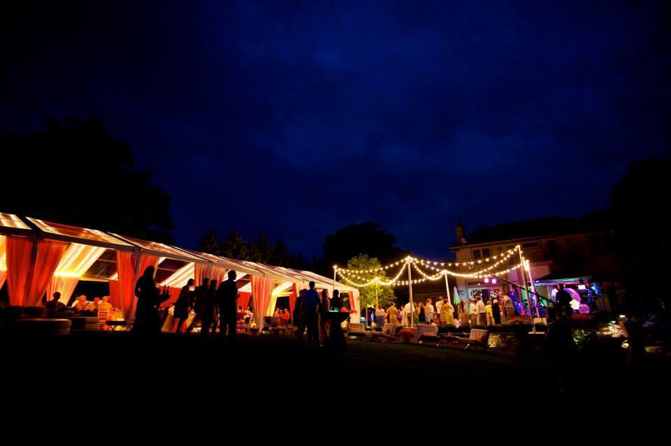 romantic tented wedding on lake michigan
