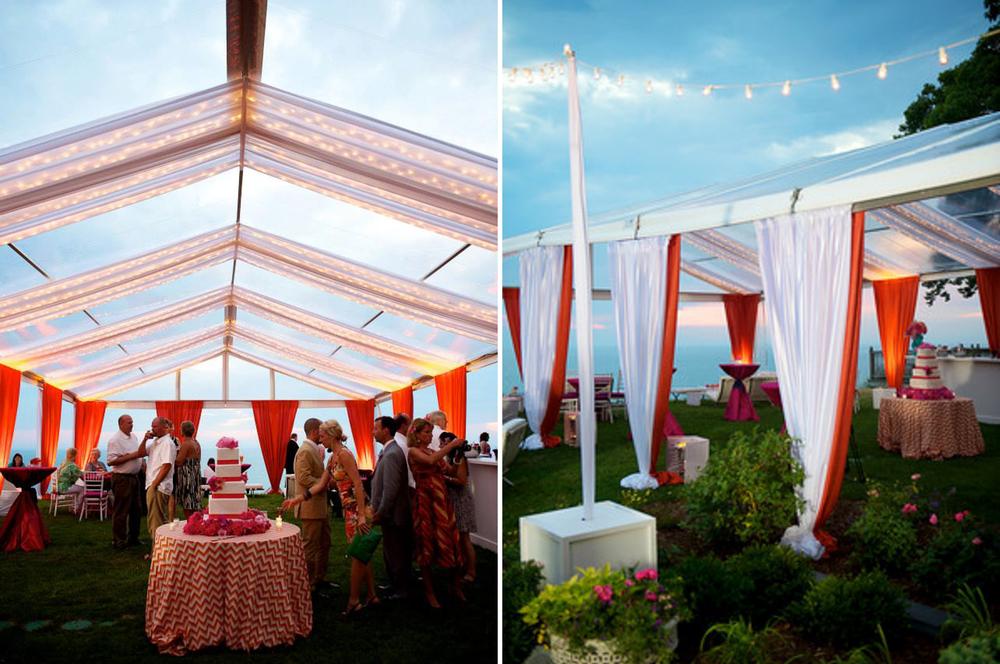 see through tented wedding lake michigan