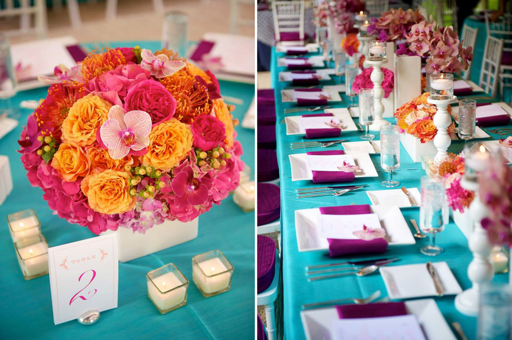 pink orchid and orange ranunculus floral centerpiece