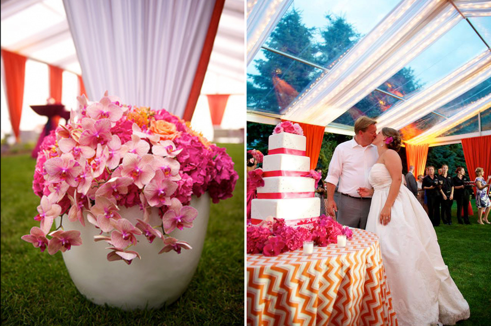 pink orchid floral piece at tented wedding