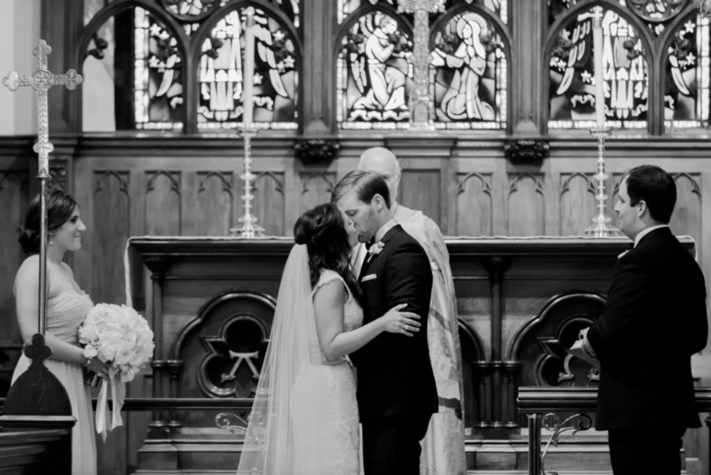 Grand Rapids, Michigan Church Ceremony Kiss Photos