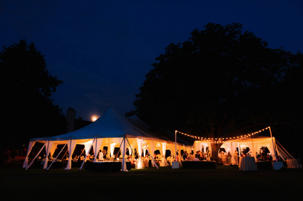 Blythefield Country Club Tented Wedding at Night Photos