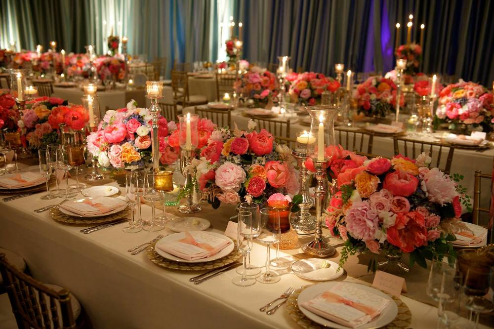 Hagerty Center Wedding Reception Pink Peony Arrangements