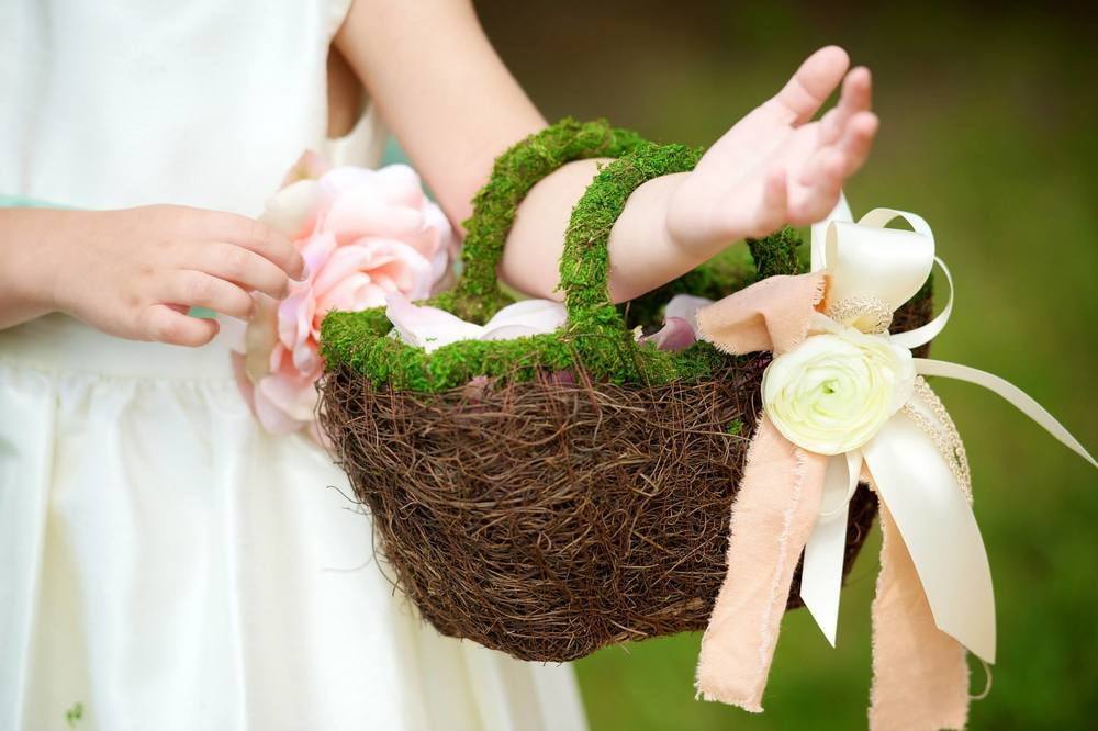 Michigan Outdoor Wedding Beautiful Handmade Flower Basket