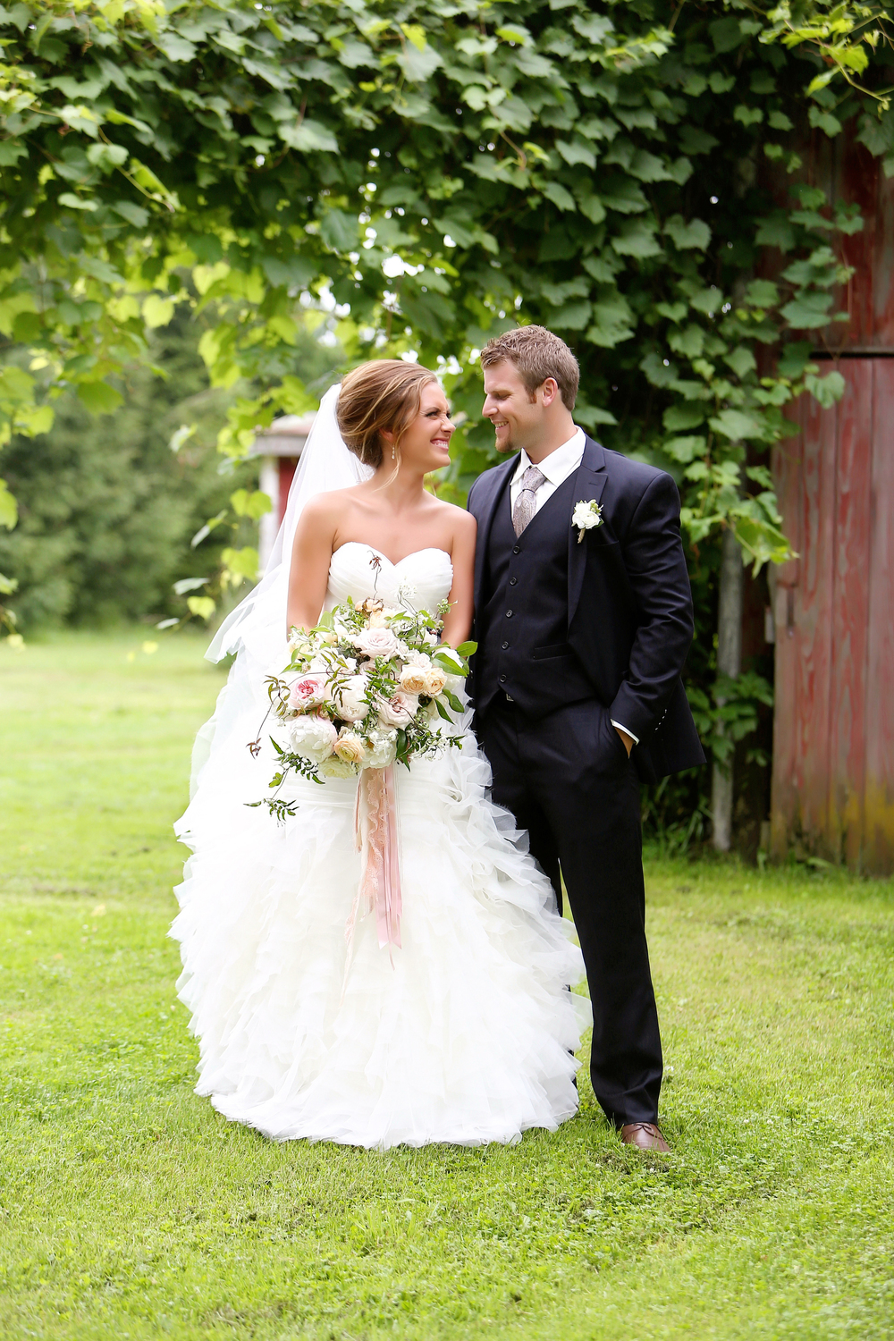 Michigan Barn Wedding Outdoor Bride and Groom Photos