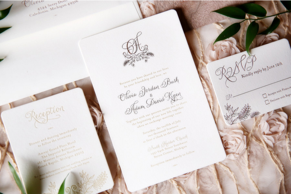 Amway Grand Plaza Wedding with Letterpress Stationary