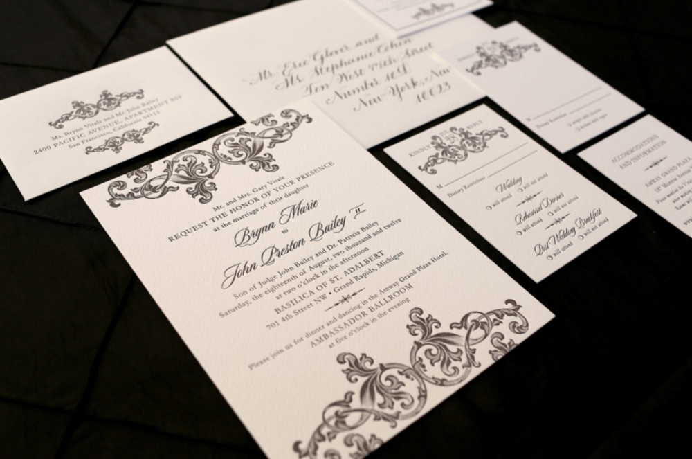 letterpress wedding invitation with classic design