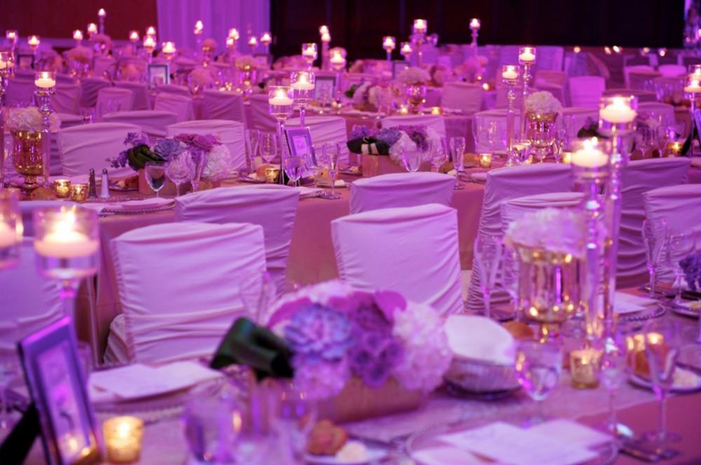 Grand Rapids, Michigan Wedding Purple Tablescape Decor