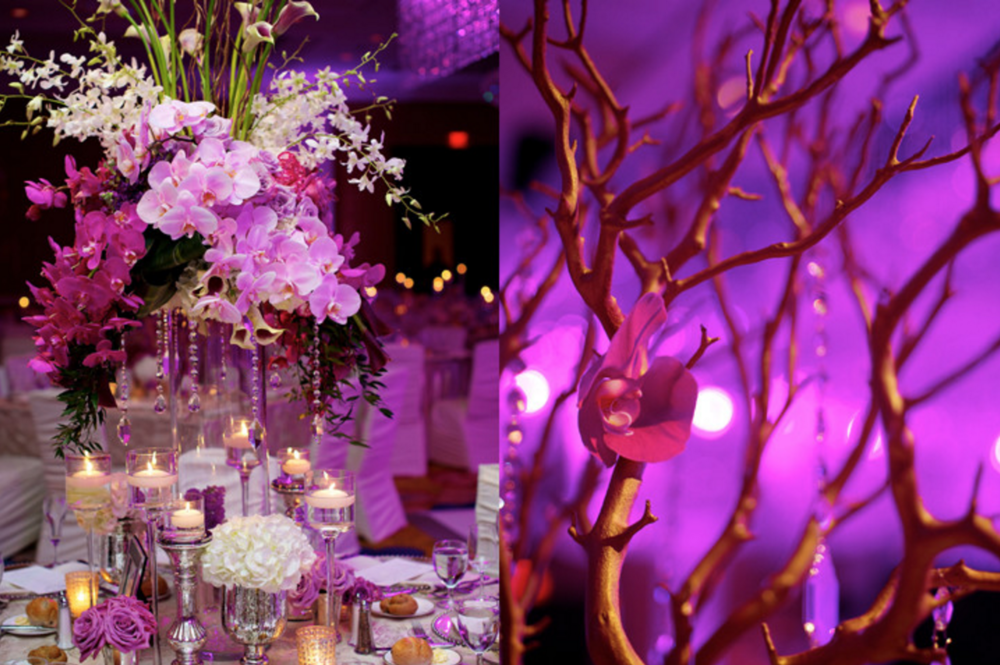 Amway Grand Plaza Wedding with Big Flower Centerpieces