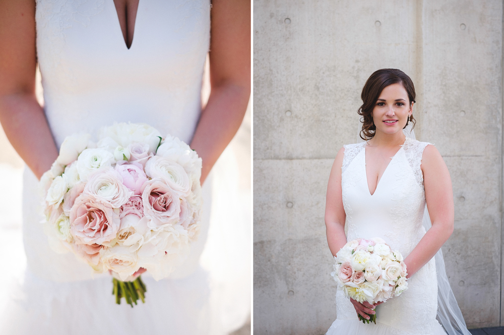 Downtown Grand Rapids Beautiful Bridal Photos with Bouquet