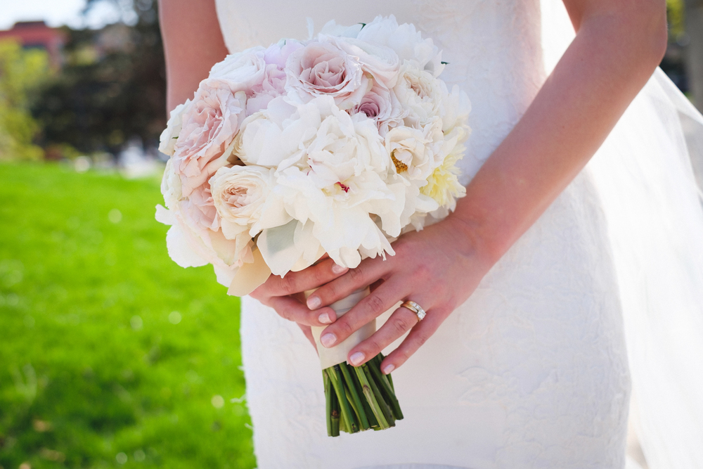 Grand Rapids, Michigan Wedding Ranunculus and Rose Bridal Bouquet