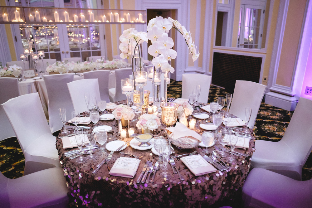 Grand Rapids, Michigan Ballroom Wedding with Flower Centerpiece